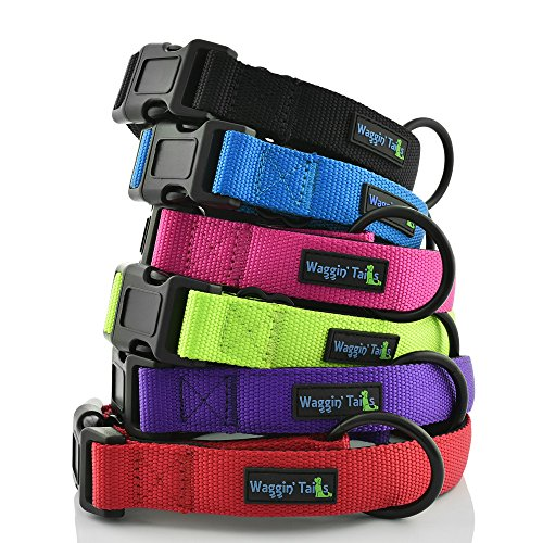 Waggin Tails Classic Comfort Dog Collar Premium Nylon Neoprene Padded Dog Collar Large Sized Dog Comfortable Collar Your Dog Co. (Lively Pink) L