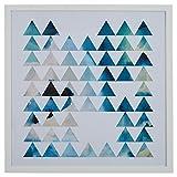 Teal Geometric Print in White Frame, 32'' x 32''