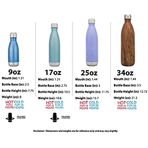 Simple Modern 17oz Wave Water Bottle - Vacuum Insulated Double Wall 18/8 Stainless Steel Hydro Swell Flask - Concept Collection - Wood Grain