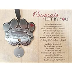 "Pet Memorial Ornament - 3"" Metal Casted Paw Print Design Ornament with Engravable Drop Pendant - Beautiful Remembrance Gift For a Grieving Pet Owner - Includes ""Pawprints Left By You"" Poem Card"