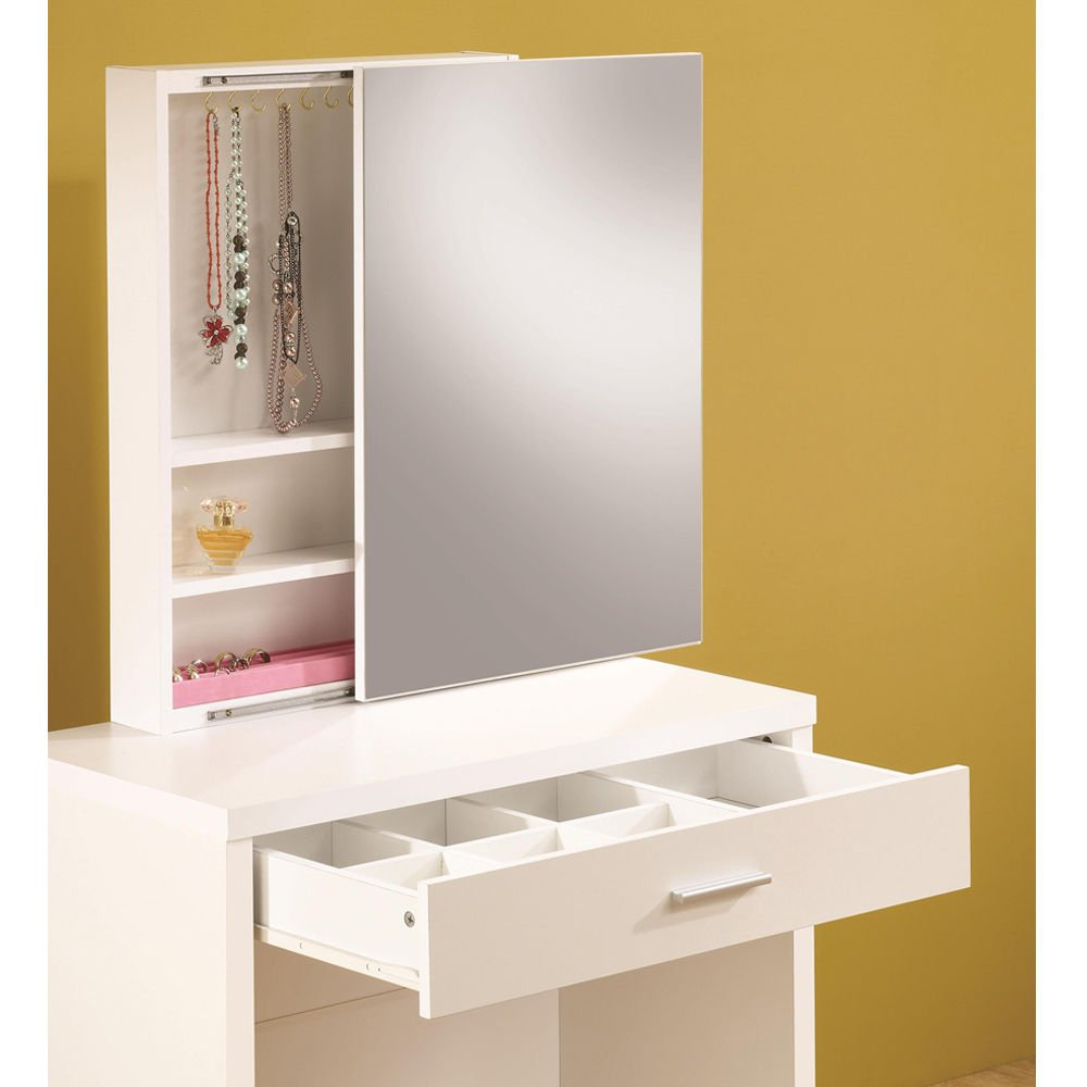 1PerfectChoice Glossy White Vanity Makeup Table Set w/ Hidden Mirror Storage & Lift-Top Stool