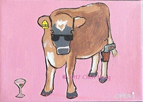 Tarzhe', Secret Agent Cow, Original Wall Art - American Artist from Wisconsin - Home/Kitchen/Kids Room - Colorful Pink Painting Black Sunglasses Small Funny Vegan Animal Rights Activist Martini
