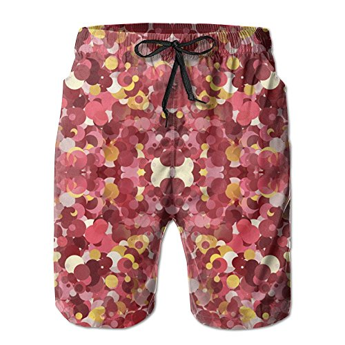 - 3D Print Hibiscus Dots Fabric Shorts Fast Dry Beach Board Shorts Men's Swim Trunks