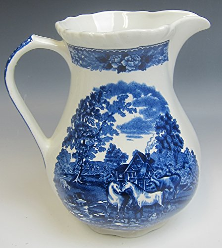 - Adams China ENGLISH SCENIC BLUE SCALLOPED 32oz Pitcher EXCELLENT
