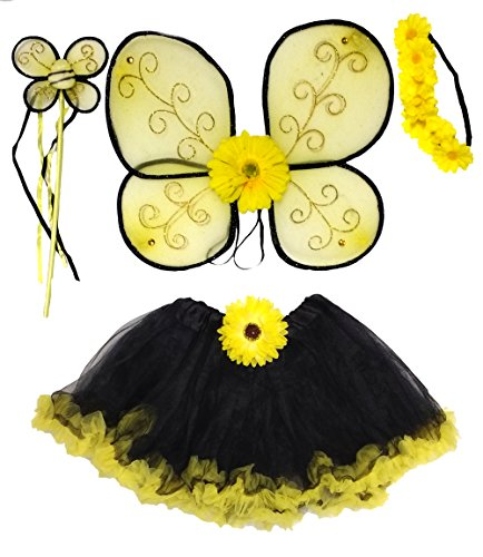 Bee Tutu Costumes (Girls Bumble Bee Fairy Costume, Ruffle Tutu, Wings, Wand, Headband, Hair Clip, Age 5-10)