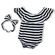 Baby Girls Clothes Black and White Stripes Romper Bodysuit with Bowknot Headband(3-6Months)