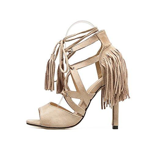 KHSKX-Aprikosen 8.5Cm Schuhe Leder Schuhe Mit Einem Strap Ring Sandalen Mit Feinen Veloursleder Hochhackige Schuhe Im Sommer Thirty-eight