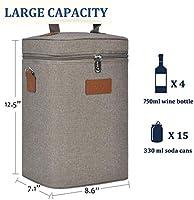 Kato Bolsa de vino con aislamiento 4 botellas de viaje acolchado para botellas de vino/champán refrigerador con asa y correa de hombro, gran regalo ...