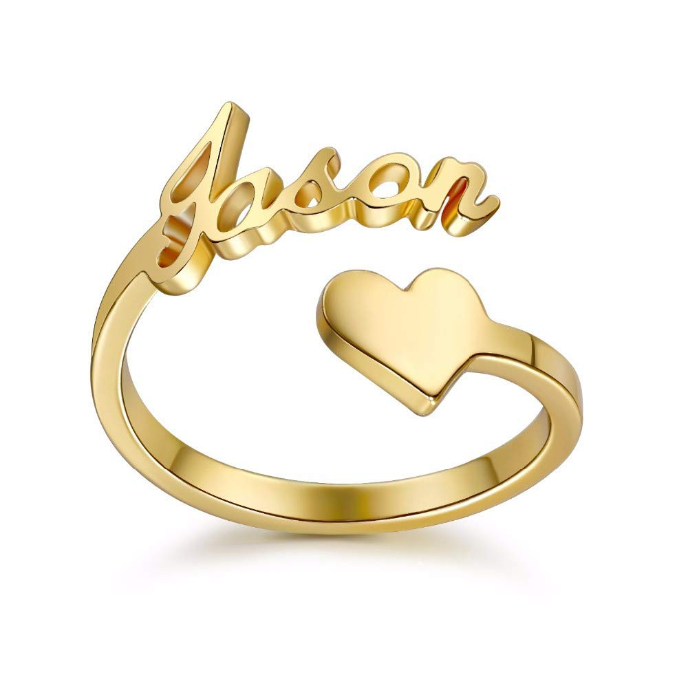925 Sterling Silver Personalized Heart Nameplate Ring Custom with Any Name, Couple Gifts Couple Gifts (Silver) Sahaa
