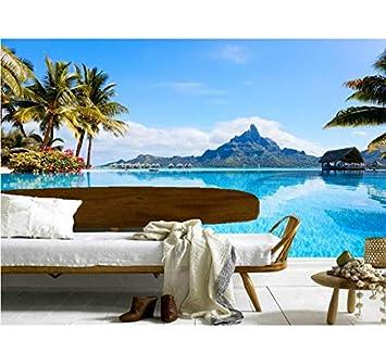 Mkkwp Benutzerdefinierte 3d Wandbilder Schone Blaue Himmel Insel