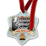 Add Your Own Custom Name, Classic design I Survived Catholic School Christmas Ornament NEONBLOND
