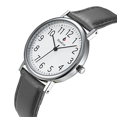 AIBI Fashion Women's Watch Analog Quartz Simple Easy to Read Grey Leather Band 3ATM Waterproof Dial...