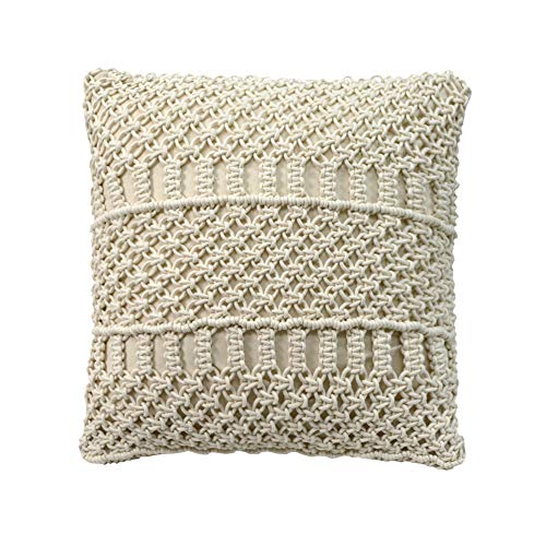 TEALP Boho Handmade Pillow Cover Square Pillows 18 x 18 Pillow Covers, Handmade, Off White