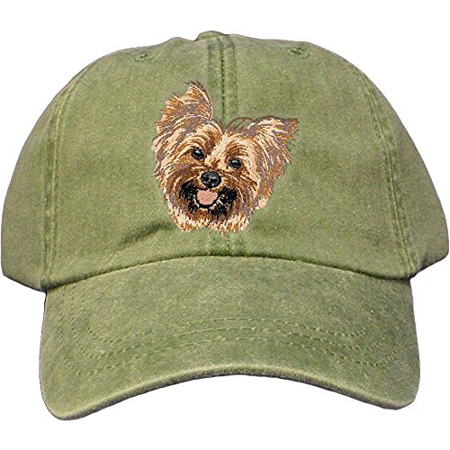 Cherrybrook Dog Breed Embroidered Adams Cotton Twill Caps - Spruce - Yorkshire Terrier