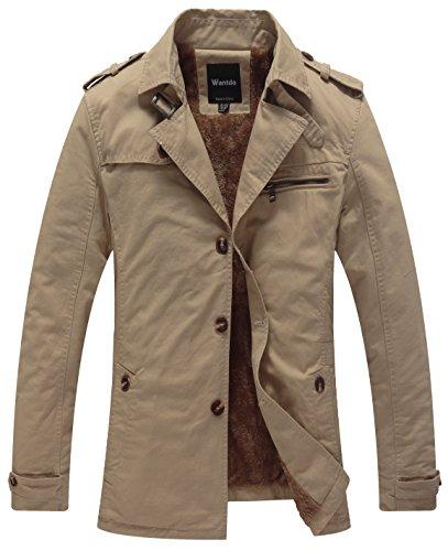 (Wantdo Men's Cotton Turn Down Jacket with Fleece (Khaki, Large))