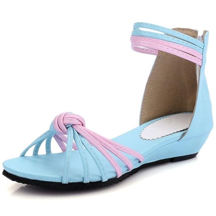 Ladies Comfortable Multicolor Zipper Flats Sandals Shoes