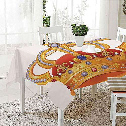 (Wrinkle Free and Stain Resistant Tablecloth,Royal Crown with Gem Like Image Symbol of Imperial Majestic Print,Spill Proof,Machine Washable,Tablecloth for Use(60.23