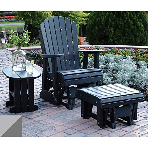 - LuxCraft 2' Poly Adirondack Glider Chair with Footrest and Side Table, Recycled Plastic Outdoor Furniture 3 Piece Set (Dove Gray & Slate)
