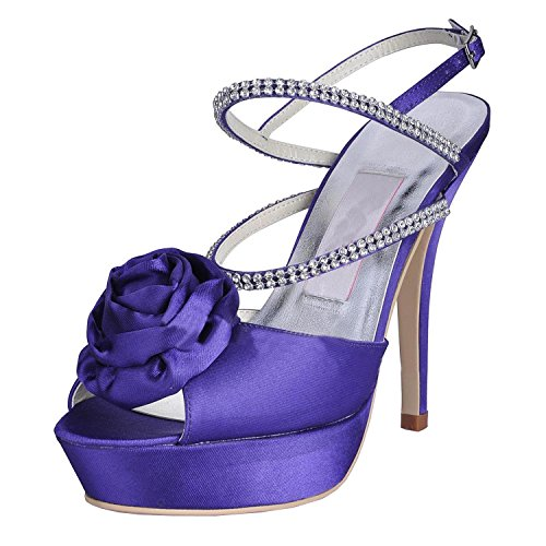 Kevin Fashion MZ616 Womens Peep Toe Stiletto talón Mary Jane noche satén Slingback sandalias zapatos, color Morado, talla 43 EU