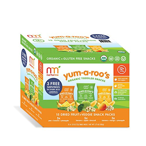 15 Pack Fruit - NurturMe Yum-A-Roo's Organic Toddler Snacks, Fruit & Vegetable Variety Pack, 15 Count