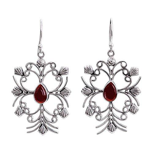 NOVICA Carnelian .925 Sterling Silver Dangle Earrings 'Vintage Vineyard'