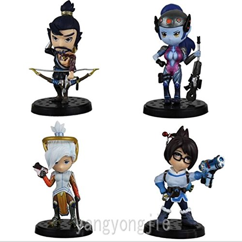 Hanzo Mei Mercy Widowmaker Cute 12cm PVC Action Figures Figu