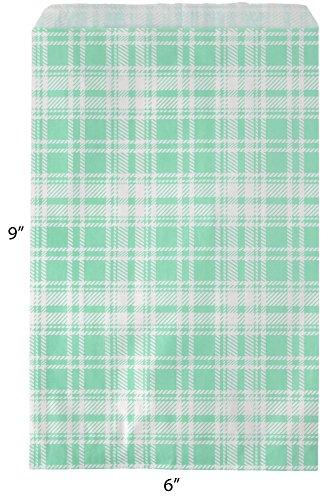 Novel Box® Teal Plaid Print Paper Gift Candy Jewelry Merchandise Bag Bundle 6X9