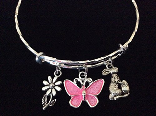 Easter Bunny with Butterfly Twisted Expandable Charm Bracelet Silver Adjustable Wire Bangle Basket Gift (Charm Easter Butterfly)