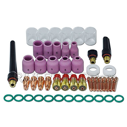 RIVERWELD 49PCS TIG Welding Torch Stubby Gas Lens #10 Pyrex Glass Cup Kit For DB SR WP 17 18 26