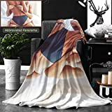 Unique Custom Double Sides Print Flannel Blankets Cropped Image Of Beautiful Passionate Couple Having Sex On Bed Man Is Unfastening Bra Super Soft Blanketry for Bed Couch, Twin Size 70 x 60 Inches