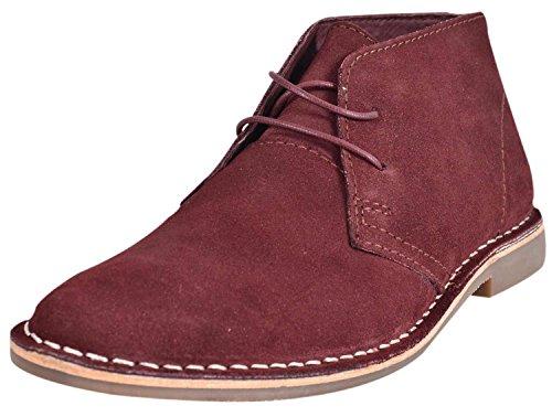 Mens Desert Faux Suede Leather Boots Lace Block Heel Shoes Maroon 3fQq3G