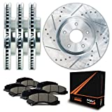 Max Brakes Zinc Coated Slotted+Drilled Rotors w/Ceramic Pads Front + Rear Perforamnce Brake Kit KT060513 [Fits 2003 - 2005 Lincoln Aviator]