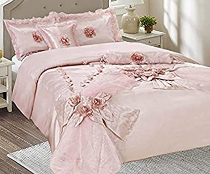 da744c13ee Image Unavailable. Image not available for. Color: Tache Home Fashion 1632-Q  Elegant Floral Light Princess Rose Pink Shabby Chic Satin Comforter
