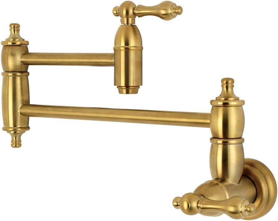 kingston brass ks3107al wall mount pot filler kitchen faucet brushed brass