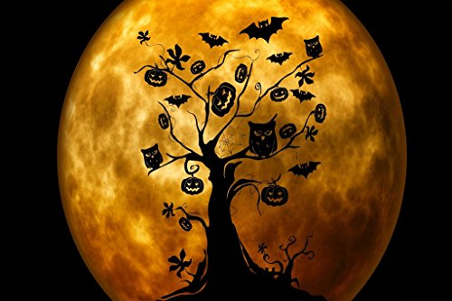 PigBangbang,Handmade 29.5 X 19.6'' Premium Basswood Bright Colorful 1000 Piece Jigsaw Puzzle for Adult in Box Can Be Mural Home Decoration-Halloween Owls Bats Orange -