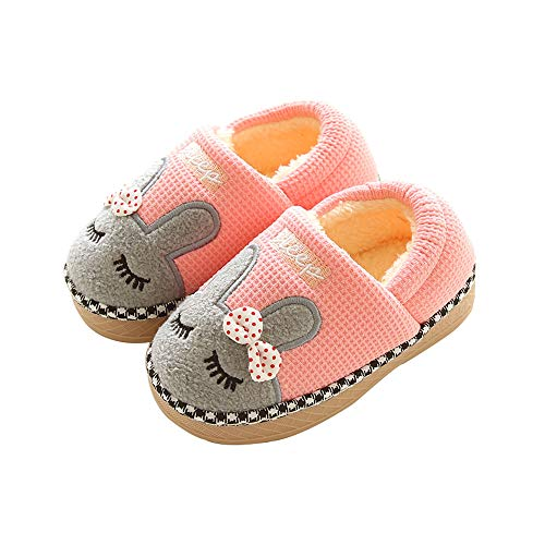 Maybolury Boys Girls Home Slippers,Kids Cute Fur Lined Warm House Slippers Winter Indoor Shoes (Slippers Girls Size 5)