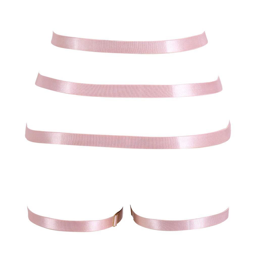 PETMHS Women Pink Body Harness Garter Belt Stockings Lingerie Elastic Suspender Belt