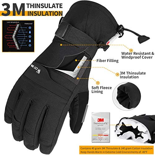 Ski & Snow Gloves, -40℉ Winter Snowboard Gloves - 3M Thinsulate Insulated Waterproof & Windproof Warm Gloves for Cold Weather, Touchscreen Gloves for Men Women, Fits for Skiing, Snowboarding, Cycling