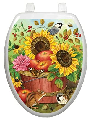 Toilet Tattoos, Toilet Seat Cover Decal,Fall Apple Basket, Size Elongated