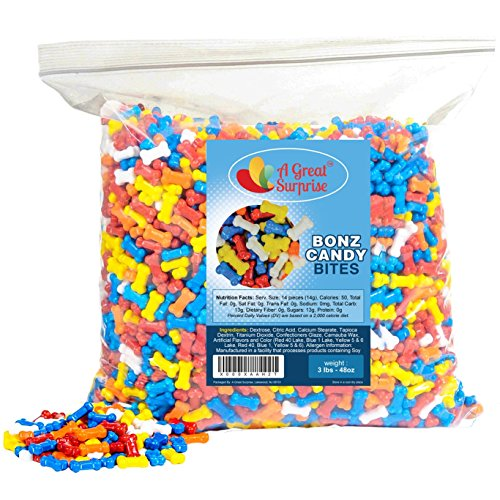 Candy Bones - Candy Bonz - Dog Bone Shape Candy, Assorted, Bulk 3 LB Party Bag Family ()