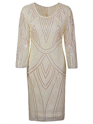 Vijiv Women 1920s Gastby Beaded Sequin 3/4 Sleeve