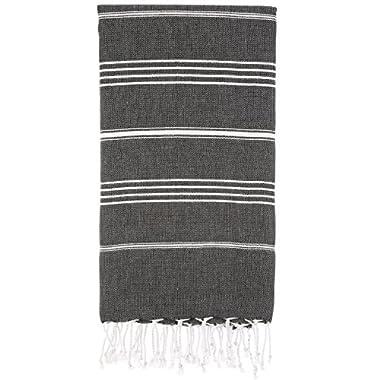 Cacala 100% Cotton Pestemal Turkish Bath Towel, 37 x 70 , Black