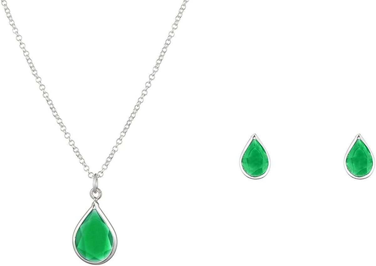 Córdoba Jewels |Conjunto de Gargantilla y Pendientes en Plata de Ley 925 con Piedra semipreciosa con diseño Lágrima Esmeralda