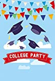 Yeele College Party Backdrops 4x5ft/1.2 X 1.5M Blue Sky And White Clouds Bunting Bachelor Cap Pictures Adult Artistic Portrait Photoshoot Props Photography Background