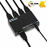 1x4 HDMI Splitter Adapter, OTYTY V1.4 Mini HDMI Selector Box Support 4Kx2K, 1080p and 3D, 1 HDMI Input Port with 4 HDMI Output with 2 Free 5 ft HDMI Splitter Cables
