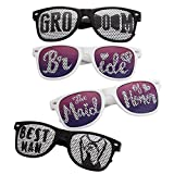 BMC 4 pc Black and White Wedding Party Decal Style Sunglasses - Bride & Groom