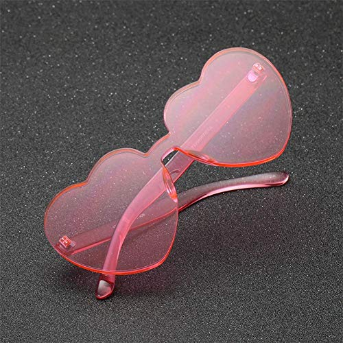 Forme Soleil ying Femme; True Piece One Siamois Coeur Lunettes Heart Tendance Rose Fashion En Double La Love De Jelly FfwxRqf1C
