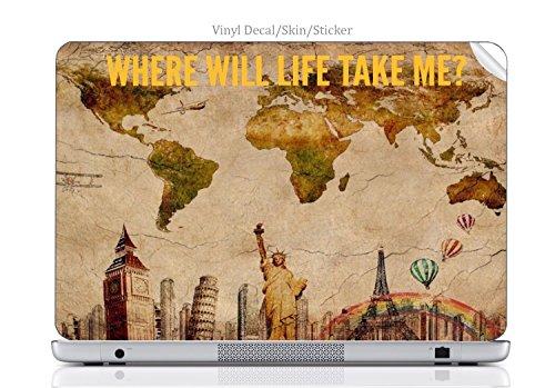 Laptop VINYL DECAL Sticker Skin Print World Travel Map Atlas Quote Printed Design fits Envy 15 (2009)