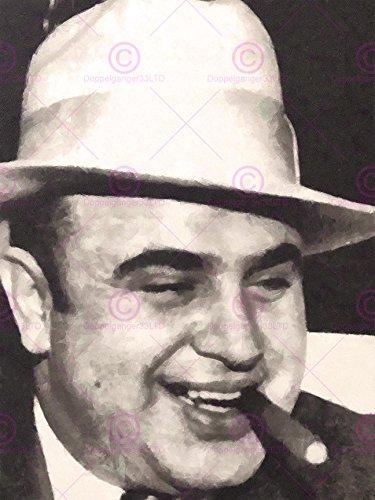 Doppelganger33 Ltd Painting Portrait Gangster Al Capone Cigar Crime Canvas Art Print