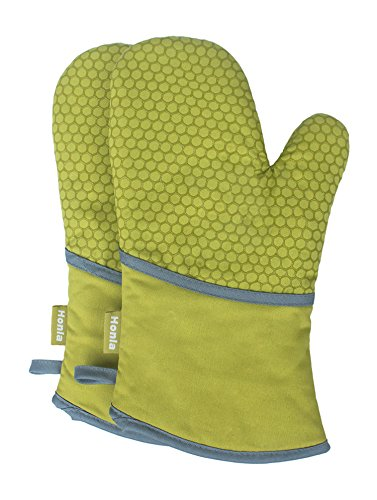 Green Oven Mitt - Honla Kitchen Oven Mitts with Non Slip Silicone Printed,1 Pair of Heat Resistant Oven Gloves for Cooking,Baking,Grilling,Barbecue Potholders,Green